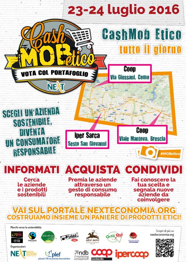 Locandina Cash Mob Etico Coop Lombardia