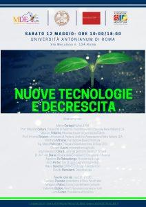 Locandina nuove tecnologie e decrescita
