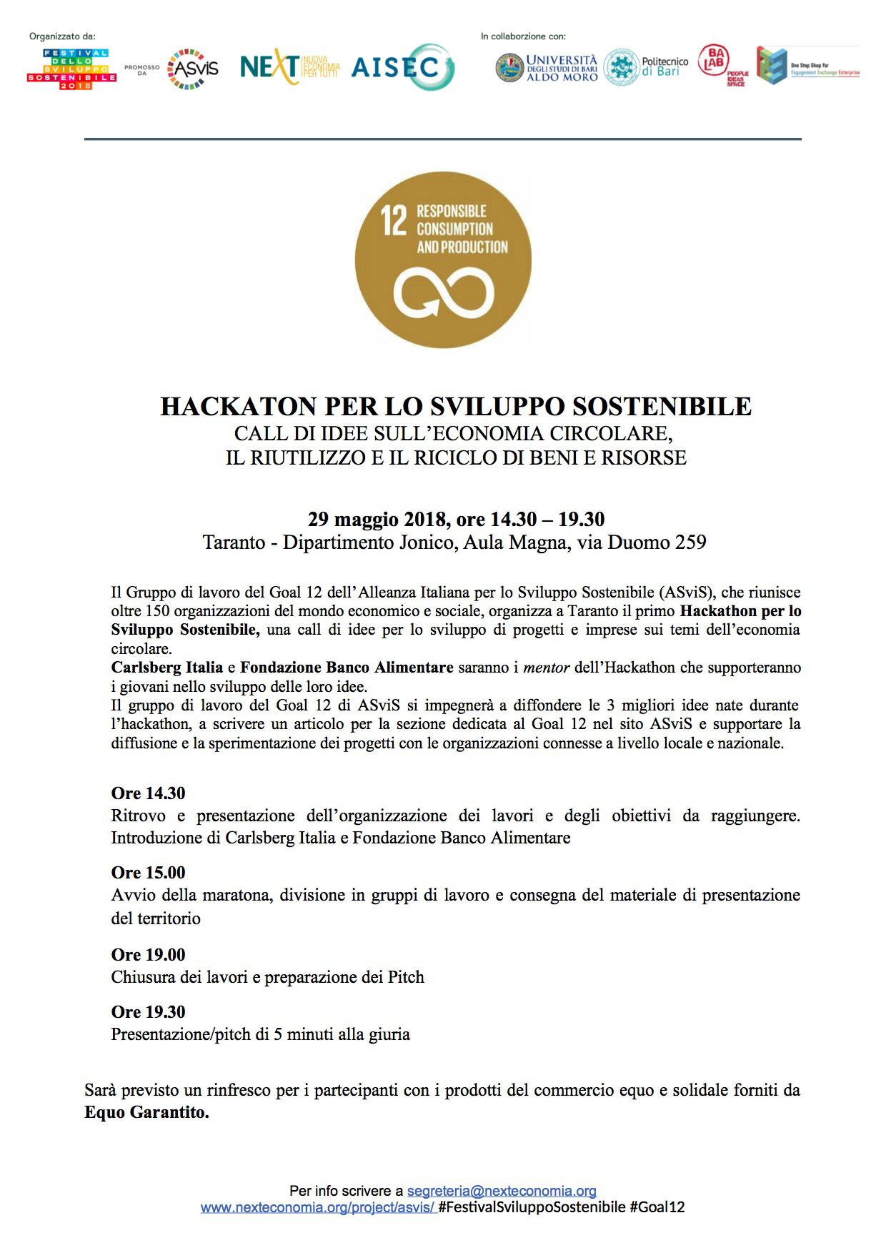 Festival Sviluppo Sostenibile Goal 12 - hackathon 29 maggio Taranto